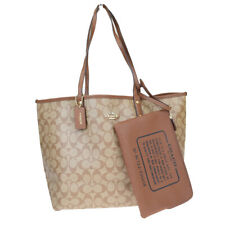 Auth Coach Signature F36658 Reversible PVC,Leather Tote Bag Brown 03GC265