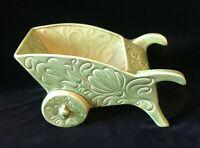 Vintage Green Ceramic Wheelbarrow Planter