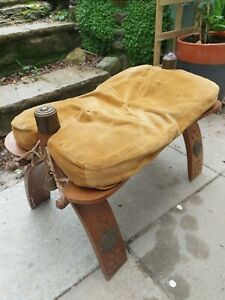 Vintage Antique  Egyptian  Camel Stool Brass Detail beauiful  patina