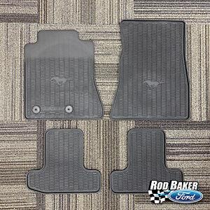 15 thru 19 Ford Mustang OEM Genuine Black Rubber Floor Mat Set w/ Logo - 4-pc