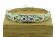 Byzantine Bracelet-Rubies,Emeralds,Sapphires-925 Sterling Silver Greek ART