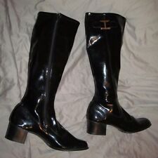 Vintage 1970s Black Shiny Rubbery GOGO BOOTS gold buckle women's size 7.5 8 N