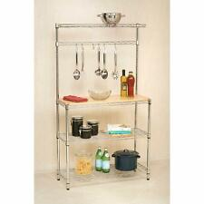4-Tier Bakers Rack Storage Rack Microwave Oven Stand w/Cutting Board Chrome