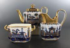 Old Paris Porcelain Blue Tete A Tete Tea Set 3 Pcs Chinoiserie Decoration