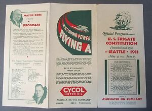 1933 U.S. FRIGATE CONSTITUTION Seattle Washington pamphlet FLYING A GASOLINE