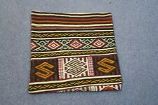"Turkish Anatolian Kilim Pillow Cushion Hand Woven Wool 20"" x 20""  Zipper Back"