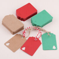 100pcs Kraft Paper Tags Present Gift Labels Christmas Tree Hang Tags with Rope