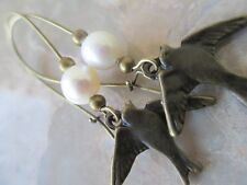 Bronze Earrings with Swallow Love Bird Fresh Water Potato Pearls on Kidney Wires