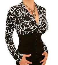 New Printed Corset Style Stretchy Top - Long Sleeves