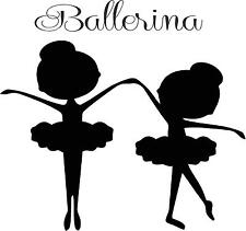 Ballerina little girls silohettes  wall vinyl decal