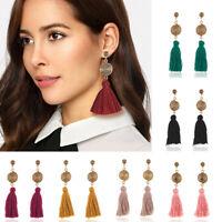 Fashion Women Bohemian Long Fringe Boho Dangle Tassel Ear Stud Earrings Jewelry