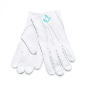 White 100% Soft Leather Masonic Gloves with Sq & Compass