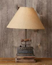 New Primitive Laundry ANTIQUE STYLE IRON LAMP Burlap Shade Electric Table Light