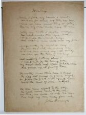 "John Burroughs Original Handwritten Manuscript for ""Waiting"""