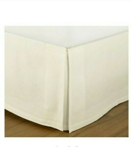 """Pottery Barn Essentials King Bed Skirt off white Cotton Linen 10 inch 14"""" Drop"""