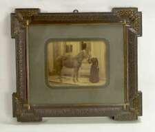 #5987 - Antiker Bilderrahmen um 1900 mit Passepartout und Foto - Frau mit Pferd