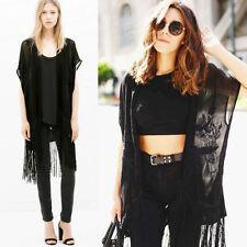 Zara Noir à Franges Poncho Kimono Crochet Taille M