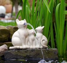 Garten Figur Wasserspeier Wasserspiel Katze Katzen Dekoration Teich Handarbeit