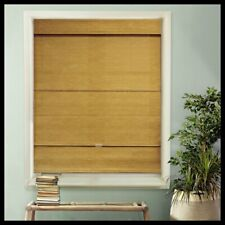 23 x 64 in Woven Fabric Roman Shade Light Filtering Cordless Magnetic Blind Gold