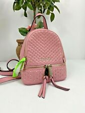Michael Kors Bag Rhea Zip Studded Pink Leather XS MINI Messenger Backpack B03