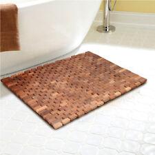 Teak Folding Shower Non Slip Mat Mildew Resistant Bath Mat with Non Slip Grips
