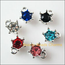 6 New Charms Glass Crystal Mixed Crown Tibetan Silver Pendants 11x13.5mm