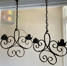 Vintage Pair Of Wrought Iron Ceiling Lights Pendants