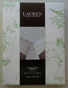Ralph Lauren Green Butterfly Floral Birds Oblong 60 x 120 Tablecloth Country NEW