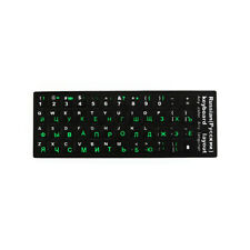 Russian-English Laptop Computer Alphabet Keyboard Stickers - GREEN Letters