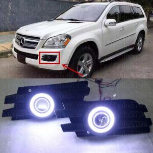 2x LED DRL Daytime Fog Lights Lens+angel eye kit For Mercedes X164 GL450 2006-09