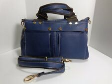 Multi Pocket Faux Leather Double Handle Navy Blue Satchel Pre-Owned