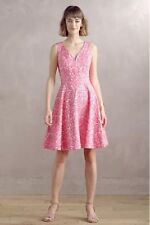 Anthropologie Maeve Claribel Dress 8 M Pink Floral Jacquard Butterflies