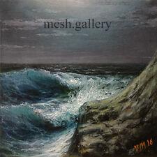 FRAMED ORIGINAL OIL PAINTING SEASCAPE MESH FINE ART Stormy Surf Night Rock Moon