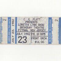 LORETTA LYNN Concert Ticket Stub PITMAN NJ 7/23/82 BROADWAY QUEEN OF COUNTRY