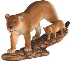 "11.5"" Lioness Hunting w/ Cub Statue Figurine Safari Wildlife Wild Animal Lion"