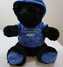 US Army TLJ Teddy Bear with Blue Camo Hoodie Shirt United States Army Plush