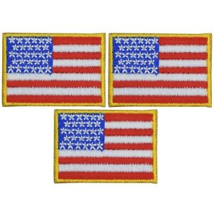 """Mini American Flag Patch - United States USA 1-9/16"""" (3-Pack, Iron on)"""