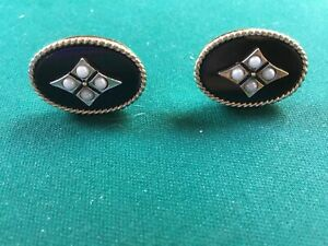 VINTAGE SWANK YELLOW TONE  ONYX AND FAUX PEARL CUFFLINKS