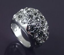 SILVER PLATED RING SET WITH SMOKY GREY & CLEAR CUBIC ZIRCONIA UK SIZE M US 6.
