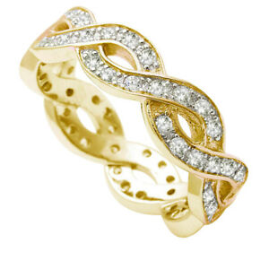 Yellow Gold Finish Simulated Diamond Sterling Silver Infinity Band Ring - 6 mm
