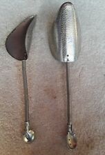 "Vintage set of 2 Pair Hammered Metal Shoe Forms  Shapers Stretchers 11"" Flexible"