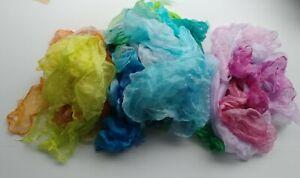 Multicolor 100%  Hand Dyed Thing  Gauze Silk Wet Nuno Felting Supplies Fabric