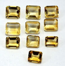 83Ct Natural Golden Citrine Loose Gemstone 10X12-14X13mm Emerald Faceted Cut S11