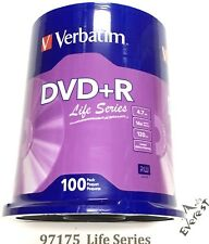 100 VERBATIM Life Series DVD+R 16X Branded Logo 4.7GB Media Disc Spindle 97175