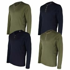 MENS ROUND & V-NECK WAFFLE TOP LONG SLEEVE STRETCHY THERMAL JERSEY T-SHIRT S-XL