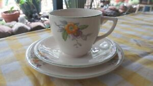 Vintage Cup Saucer & Plate Floral Pattern  by  British Anchor England