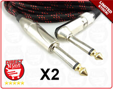 """Braided Guitar Lead Instrument Cable 10M 6.35mm 1/4""""Straight to Right Angle X 2"""