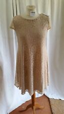 Atmosphere Cream/Peach Knee Length Sleeveless Laced Covered A Line Dress Size 8