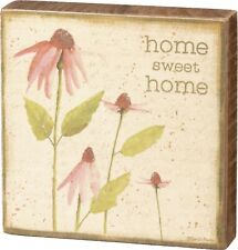 Home Sweet Home Pink Coneflowers Block Sign 4 Inches