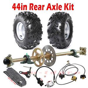 """Gokart 44"""" Rear Live Axle Brake Assembly Wheels Chain Drift Trike Cart ATV UTV"""